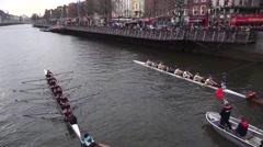 St Patricks Boat Race Start Stock Footage