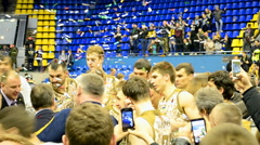 Golden cup, basketball winner ceremony, championship F4 Final in Kiev, Ukraine. Stock Footage