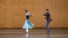 Stock Video Footage of Folk dancing couple dancing. Performance of  dancers,  choreography,   ballet