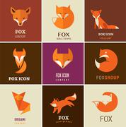 Fox icons, illustrations and elements - stock illustration