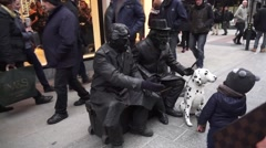 Living Statues in Streets of Dublin Stock Footage