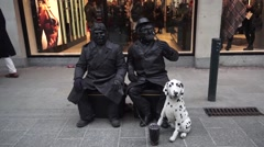 Dublin Streets Living Statue People Stock Footage