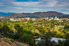 Stock Photo of View of distant mountains and Riverside, from Mount Rubidoux Park, in Riversi