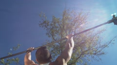 Pull Up Bars at Outdoor - stock footage