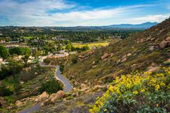Yellow flowers and view of trail at Mount Rubidoux Park, Riverside, Californi Stock Photos