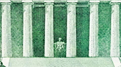 Lincoln Memorial Five Dollar Bill Macro Zoom Stock Footage