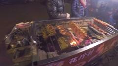 Street vendor sells rotisserie duck in Shanghai. Stock Footage
