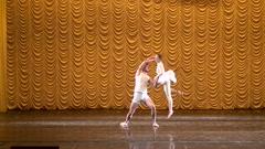 Ballet couple, ballerina and dancer guy dancing ballet, ballet man and woman. Arkistovideo