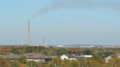 View of Sudbury with Inco Superstack at left. Sudbury, Ontario, Canada. Stock Footage