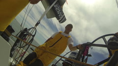 Crew of sailing boat during Volvo Ocean Race  Stock Footage