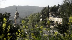 Ein Karem old minaret view Jerusalem Israel Stock Footage