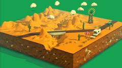 Desert Landscape. Travel Vehicle Stock Footage