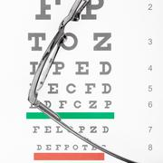 Eyesight test table with glasses over it - stock photo