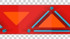 3D RED TRIANGLES PATTERN STRIPE ANIMATION. ALPHA CHANNEL. Stock Footage