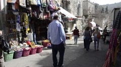 Ein Karem street with Souvenirs shop  jerusalem israel Stock Footage