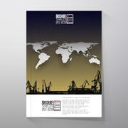 Shipyard, harbor skyline, night design, world map vector. Brochure, flyer or Stock Illustration