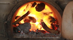 Fire burning firewood in big kiln Stock Footage