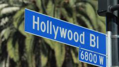 Hollywood Blvd street sign - stock footage