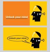 unlock your mind. unlock your potential - stock illustration