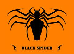 Stylized Black Spider - stock illustration