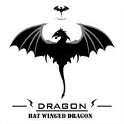 Bat Winged Dragon with the Whipped Tail Stock Illustration