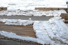 White sandbags Stock Photos