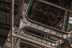 Building frame inside industrial architecture Stock Photos