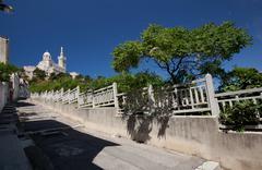 Marseille with its spectacular Notre Dame de la Garde basilica Stock Photos