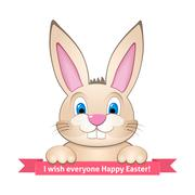 Bunny wishes Happy Easter - stock illustration