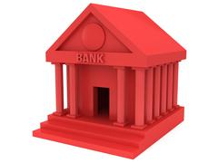 Red Bank building 3d icon - stock illustration