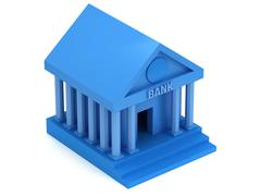 Blue Bank building 3d icon Stock Illustration
