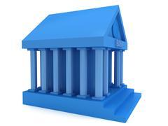 Blue Bank building 3d icon - stock illustration