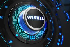 Wishes Button with Glowing Blue Lights - stock illustration
