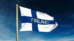 Finland flag slider style with title. Waving in the wind with cloud background Stock Footage