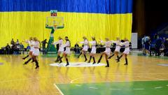 Cheerleader group dancing, F4 Final Basketball championship in Kiev, Ukraine. Stock Footage