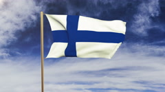 Finland flag waving in the wind. Looping sun rises style.  Animation loop. Green Stock Footage