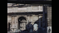 Drive Toward Triple Arches Piazza del Popolo Stock Footage