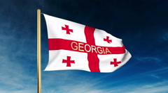 Georgia flag slider style with title. Waving in the wind with cloud background Stock Footage