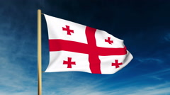 Georgia flag slider style. Waving in the wind with cloud background animation Stock Footage