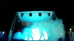 The PJ dancers on the stage of summer nightclub (static view) Stock Footage