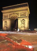 Arc de triopmhe at night, Paris, France Stock Photos