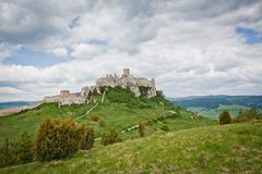 Spissky hrad castle in Slovakia,UNESCO world heritage listed mon - stock photo