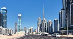 General view of the central area of the city Dubai - stock photo