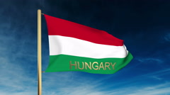 Hungary flag slider style with title. Waving in the wind with cloud background Stock Footage