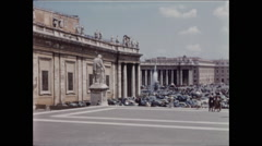 Pan of Saint Peter's Square from steps of Basilica Stock Footage