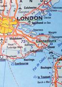 London, United Kingdom as a travel destination on a map Stock Photos