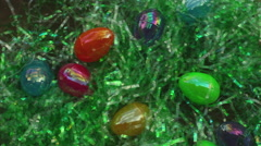 easter eggs in fake grass - stock footage