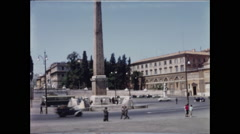 Pan from Obelisk to Twin Churches Piazza del Popolo Stock Footage