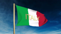 Italy flag slider style with title. Waving in the wind with cloud background Stock Footage