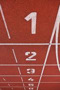Sport grounds concept - Athletics Track Lane Numbers Stock Photos